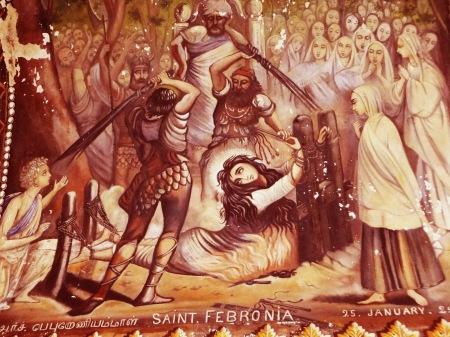 India - Cattedrale di Tiruchirapalli, nel Tamil Nadu, affresco raffigurante il martirio di Santa Febronia